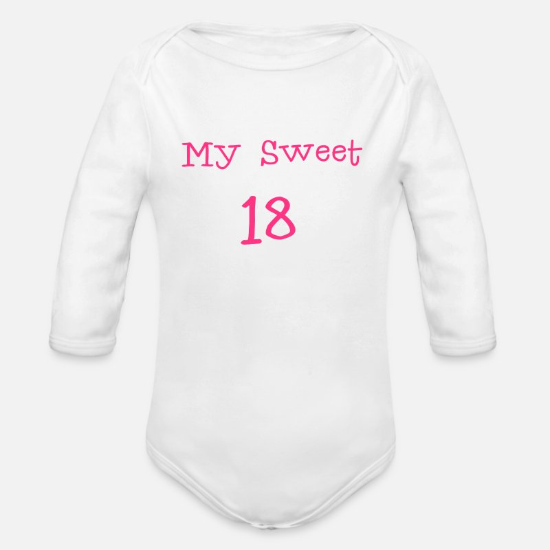 B Day Baby Clothing - My Sweet 18/ 18 Birthday / Party 1c - Longsleeved-Sleeved Baby Bodysuit white