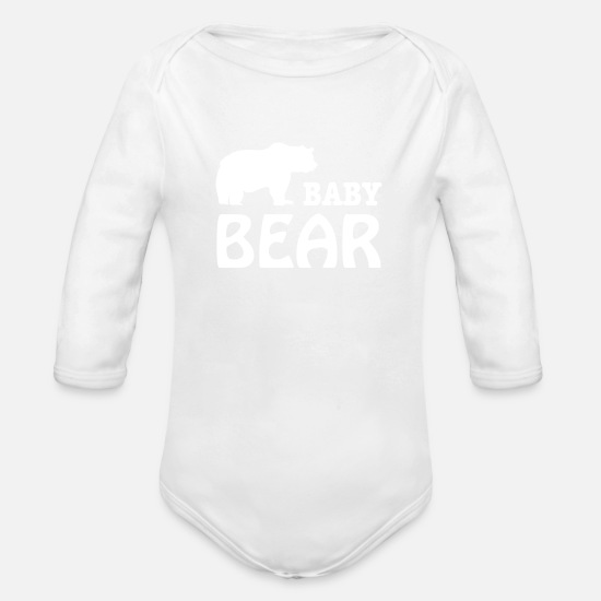 Bear Baby Clothes - baby bear - Organic Long-Sleeved Baby Bodysuit white
