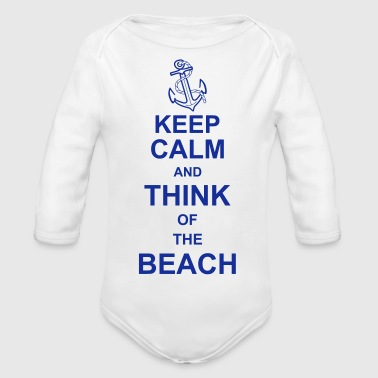 keep_calm_and_think_of_the_beach_g1 - Langærmet babybody, økologisk bomuld