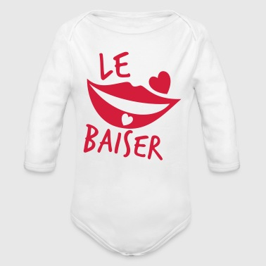 le baiser french for the kiss - Organic Longsleeve Baby Bodysuit