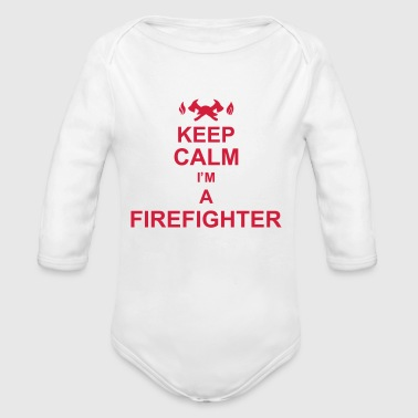 keep_calm_I'm_a_firefighter_g1 - Body orgánico de manga larga para bebé