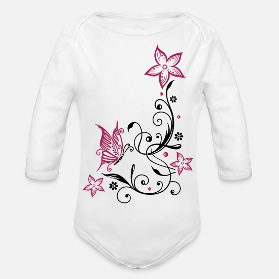 Butterfly Baby Clothes - Flowers with filigree floral ornament, butterfly - Organic Long-Sleeved Baby Bodysuit white