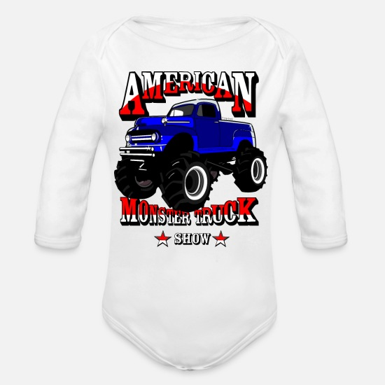 Monstertruck Bebiskläder - Monster truck - Ekologisk långärmad babybody vit