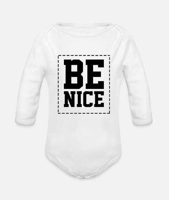 Heart Baby Bodysuits - be nice - Organic Long-Sleeved Baby Bodysuit white