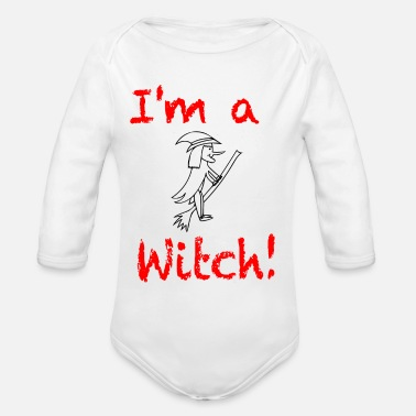 Chill I am a witch / trend / sayings - Organic Long-Sleeved Baby Bodysuit