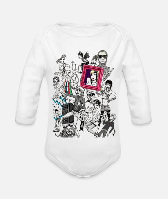 Pop Baby Bodysuits - Music - Organic Long-Sleeved Baby Bodysuit white