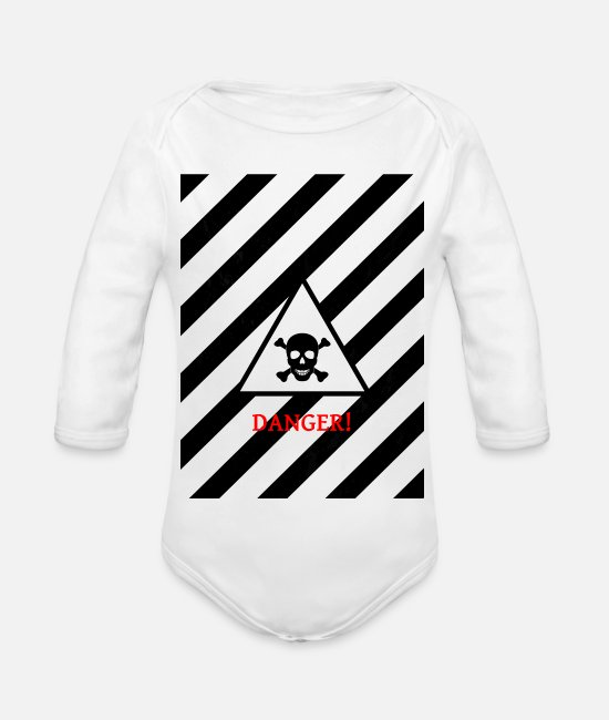 Danger Sign Baby Bodysuits - danger - Organic Long-Sleeved Baby Bodysuit white