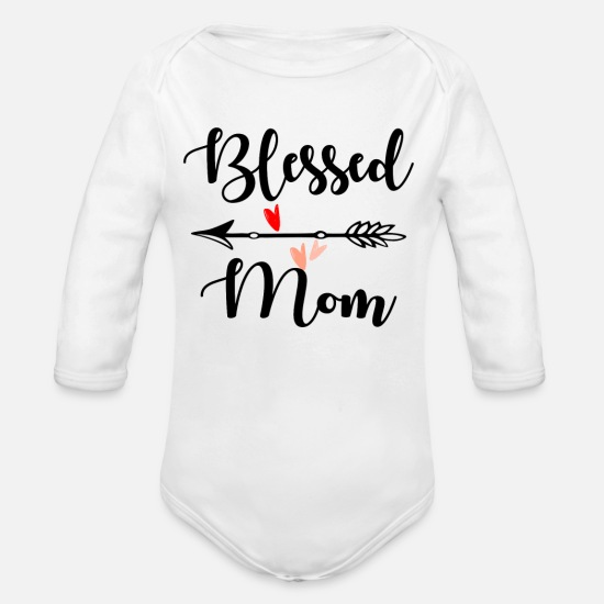 Call Baby Clothes - BLESSED MOM - Organic Long-Sleeved Baby Bodysuit white