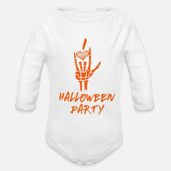 Birthday Baby Clothes - Halloween party - Organic Long-Sleeved Baby Bodysuit white