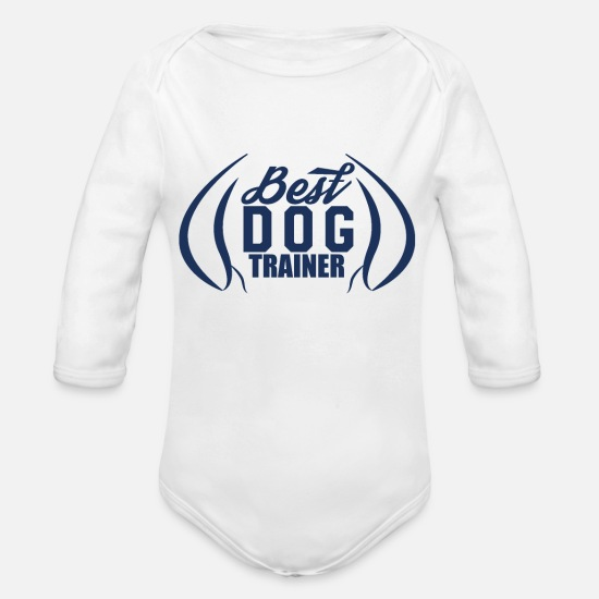 Dog Baby Clothes - dog trainer - Organic Long-Sleeved Baby Bodysuit white