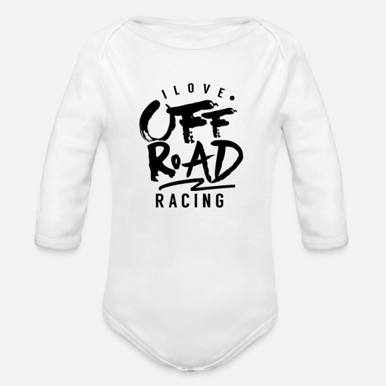 Race Baby Clothes - Race Driver Off Road Offroad Car Offroad Race - Organic Long-Sleeved Baby Bodysuit white