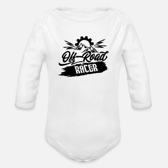 Race Baby Clothes - Offroad race - Organic Long-Sleeved Baby Bodysuit white