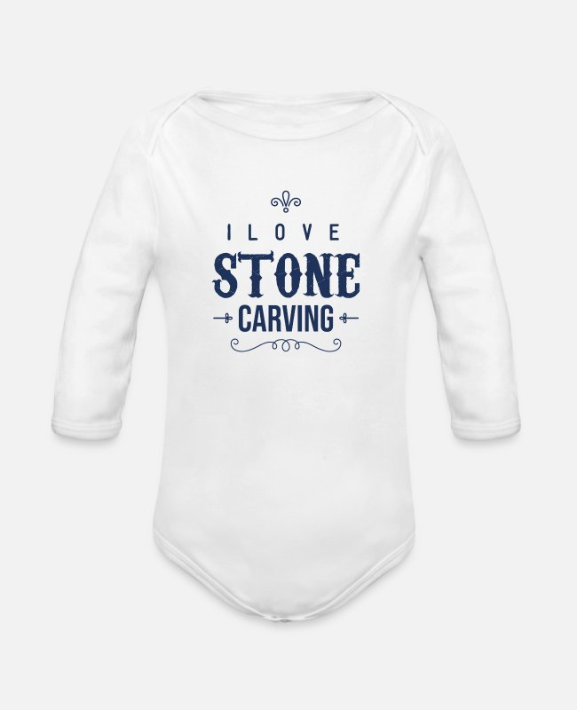 Occupation Baby Bodysuits - Profession Steinmetz sculptor Stein carve stones - Organic Long-Sleeved Baby Bodysuit white