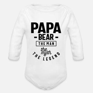 Happy Mens Papa Bear Shirt Gift For Dads & Fathers - Organic Long-Sleeved Baby Bodysuit