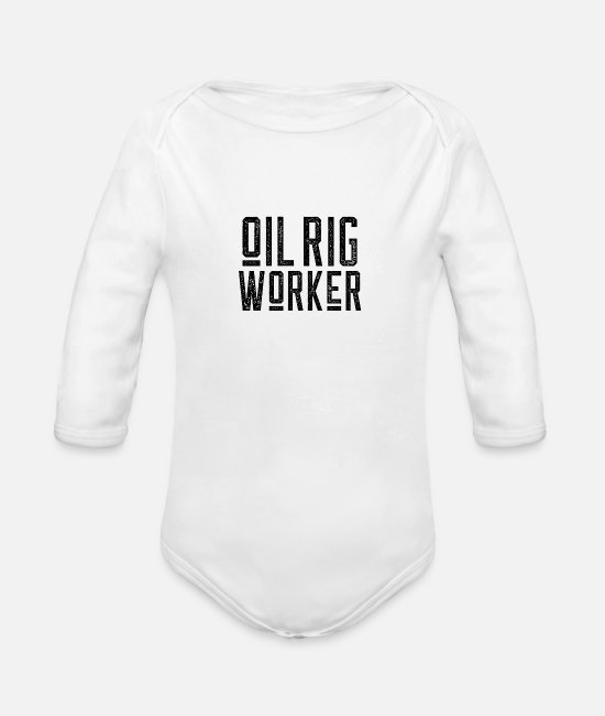 Ghastly Baby Bodysuits - Oil rig worker drilling platform offshore profession - Organic Long-Sleeved Baby Bodysuit white