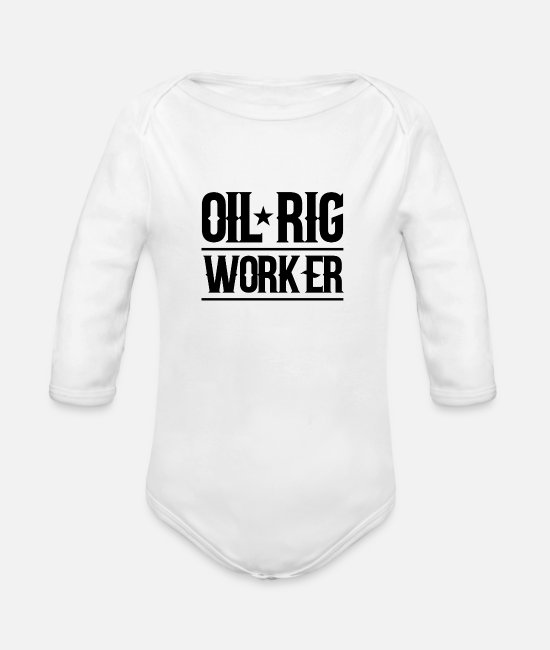 Ghastly Baby Bodysuits - Oil rig worker offshore drilling platform profession - Organic Long-Sleeved Baby Bodysuit white