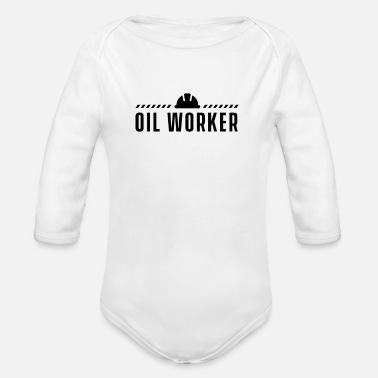 Oil Drilling Oil workers offshore drilling platform oil rig - Organic Long-Sleeved Baby Bodysuit