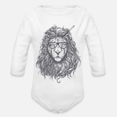 Mainstream Lion Mainstream Illustration - Organic Long-Sleeved Baby Bodysuit