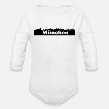 Mouth Munich skyline - Organic Long-Sleeved Baby Bodysuit