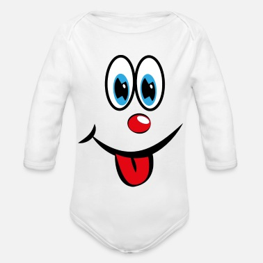 Smiley with tongue - Organic Long-Sleeved Baby Bodysuit