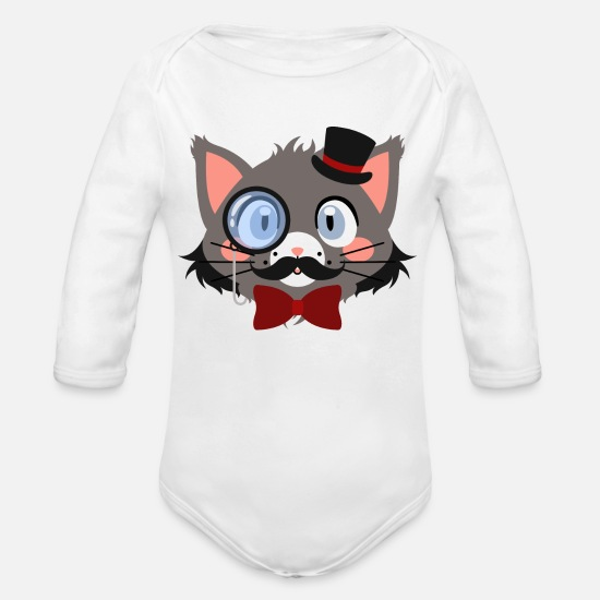 Pet Baby Clothes - Gentleman cat with monocle and hat - Organic Long-Sleeved Baby Bodysuit white