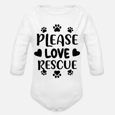 01 Please love rescue 01 - Organic Long-Sleeved Baby Bodysuit