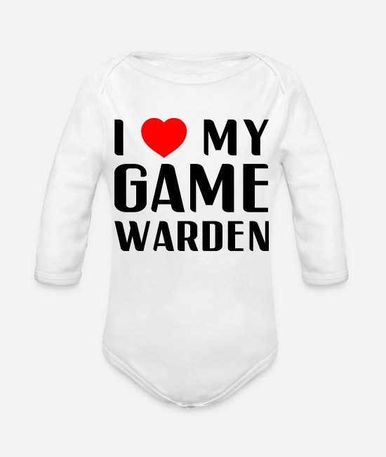 Gamekeeper Baby Bodysuits - I Love My Game Warden Proud Mom Wife Girlfriend - Organic Long-Sleeved Baby Bodysuit white