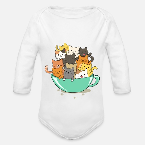 Cute Baby Clothes - Cute cats - Organic Long-Sleeved Baby Bodysuit white