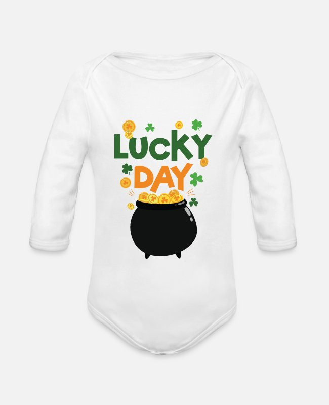 Young Baby Bodysuits - Lucky Day Cute T-Shirt - Organic Long-Sleeved Baby Bodysuit white
