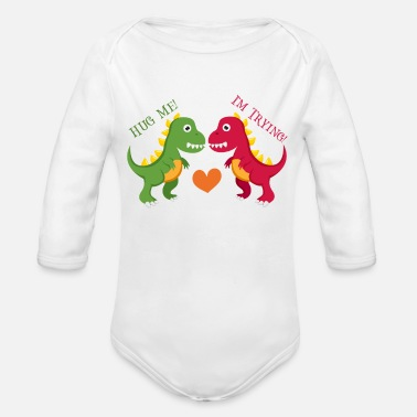 Infant Hug Me Im Trying Dinosaurs Cute Baby Onesie Bodysuit