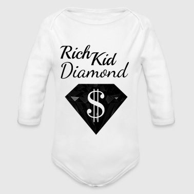 Diamond Dollar Sign Rich Black Wealthy - Organic Longsleeve Baby Bodysuit
