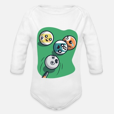 Cue Cue pushes billiard balls - Organic Long-Sleeved Baby Bodysuit