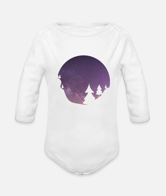 Starry Sky Baby Bodysuits - Purple starry sky - Organic Long-Sleeved Baby Bodysuit white