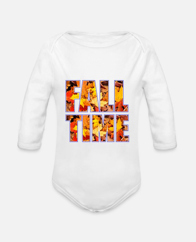 Graphic Art Baby Bodysuits - leaves - Organic Long-Sleeved Baby Bodysuit white