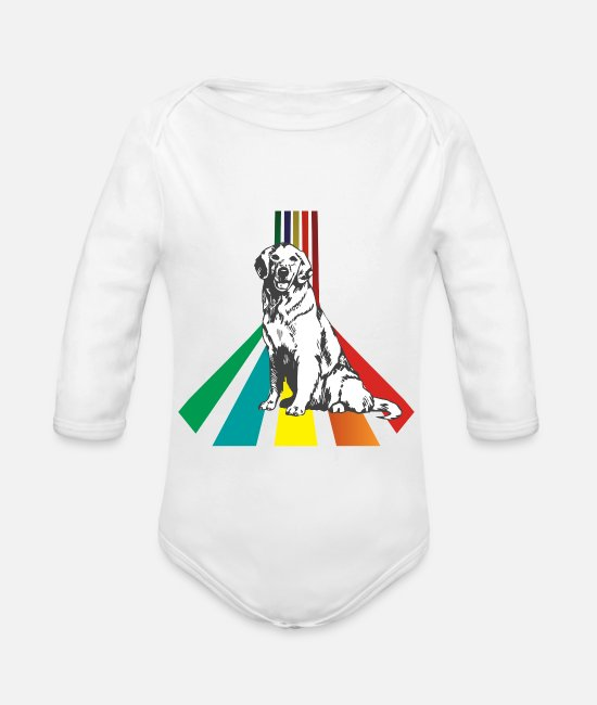 Play Baby Bodysuits - Golden Retriever Pop Art Retro Streifen Pin up - Organic Long-Sleeved Baby Bodysuit white