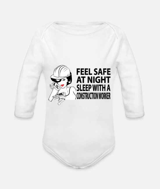 Building Site Baby Bodysuits - Safe in the night, sleep with a construction worker - Organic Long-Sleeved Baby Bodysuit white