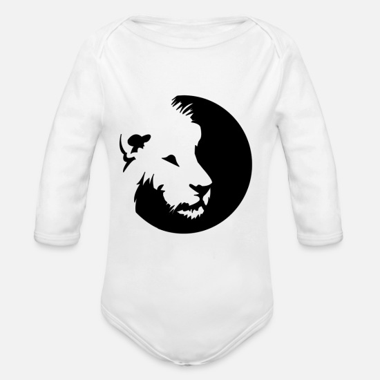 Gift Idea Baby Clothes - lion - Organic Long-Sleeved Baby Bodysuit white