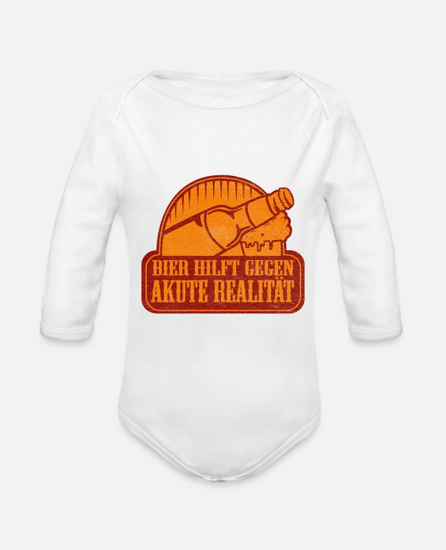 Brewery Baby Bodysuits - Beer helps against acute reality gift - Organic Long-Sleeved Baby Bodysuit white