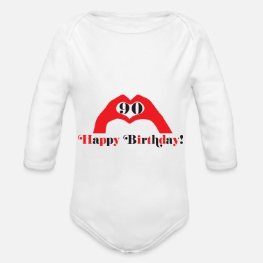 Happy Birthday Happy Birthday Happy Birthday - Organic Long-Sleeved Baby Bodysuit