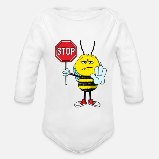 Waxe Baby Clothes - Serious bee with stop sign. Gift idea for bee - Organic Long-Sleeved Baby Bodysuit white