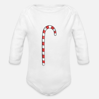 Candy Cane candy Cane - Organic Long-Sleeved Baby Bodysuit