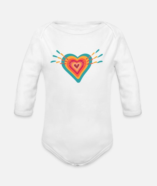 Heart Baby Bodysuits - Colourful Heart - Organic Long-Sleeved Baby Bodysuit white