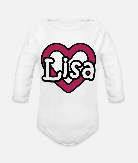 Heart Baby Bodysuits - Lisa last name first name maiden name heart name day - Organic Long-Sleeved Baby Bodysuit white