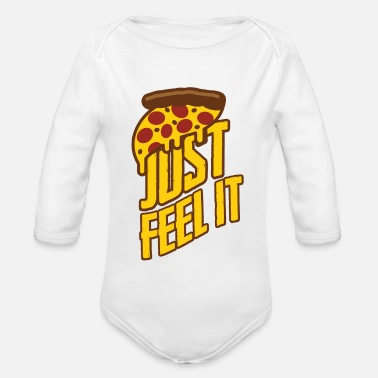 Hunger Great pizza, fast food - Organic Long-Sleeved Baby Bodysuit