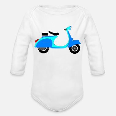 Scooter Blue Scooter - Organic Long-Sleeved Baby Bodysuit