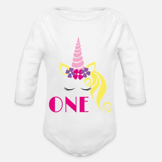 Celebrate Baby Clothes - One - Organic Long-Sleeved Baby Bodysuit white