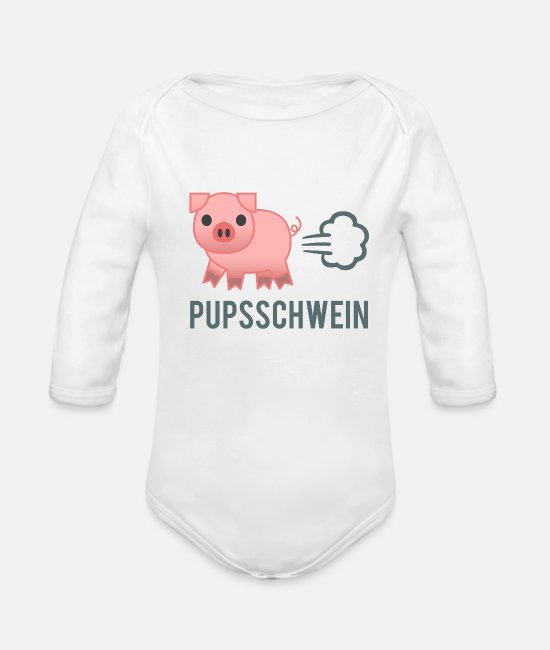 Love Baby Clothes - Pups pig - Organic Long-Sleeved Baby Bodysuit white