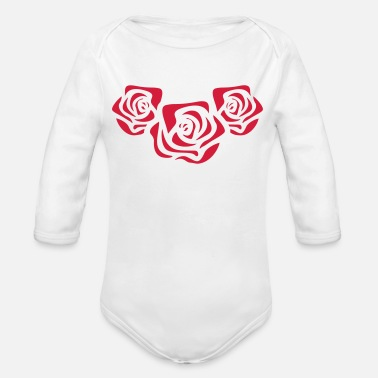 Red Rose Red roses - Organic Long-Sleeved Baby Bodysuit