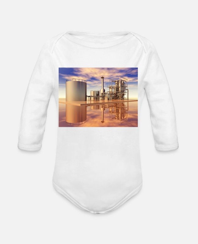 Industry Baby Bodysuits - Oil refinery, industrial plant - Organic Long-Sleeved Baby Bodysuit white