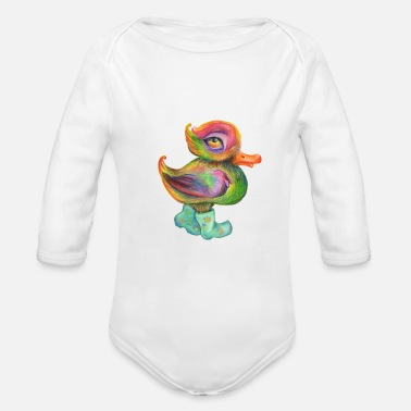 Snozzleberryduck's autumn stroll - Organic Long-Sleeved Baby Bodysuit